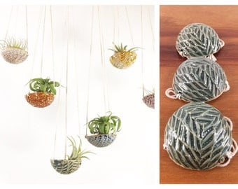 "air plant hanging planter / air plant holder / textured 3"" wide / oribe green"