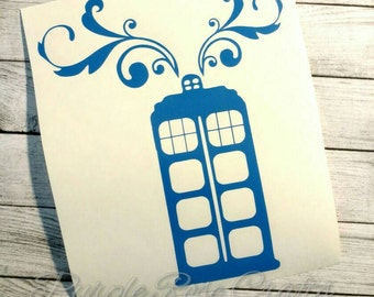 Tardis Police Box Dr Who Doctor Who Paisly Swirl Decal Sticker Cling for Window, Car, Cup, Laptop, Tumbler, Tablet Mom