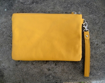 SALE: Handmade yellow  leather clutch