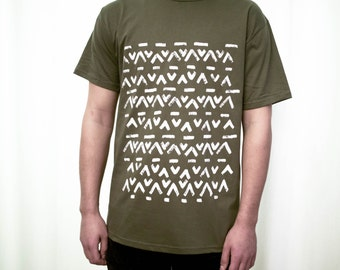 screen printed olive green T-shirt 100%cotton