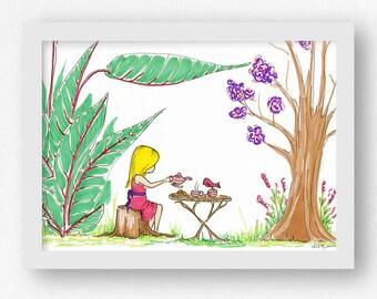 Tea Party Art Print Woodland Nursery Art Print for Girl's Nursery Whimsical Nursery Art for Girl Colorful Art for Girl's Room Plants Woods