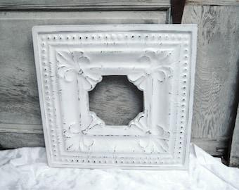 White Distressed picture frame, wide decorative frame, large ornate frame, medallion frame, shabby cottage decor, 11 x 11, wall hanging,1001