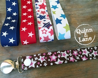 Universal Pacifier Clips YOU CHOOSE - Soothie MAM Nuk Gumdrop Soother Clips - Pacifier Holders - Stars
