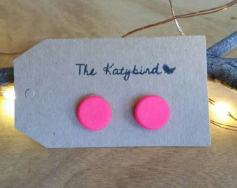 Hot studs- polymer clay earrings in brightest pink