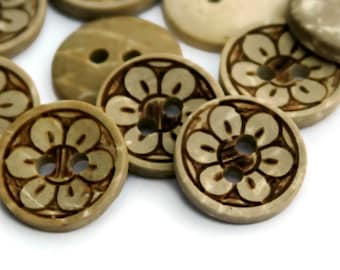 15 Flower Buttons 13mm - Coconut Shell - Brown Natural - Wooden Petals - Patterned Buttons - Wooden Buttons - Small Buttons - NW117