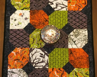 Bats and Spiders Reversible Quilted Halloween Table Topper