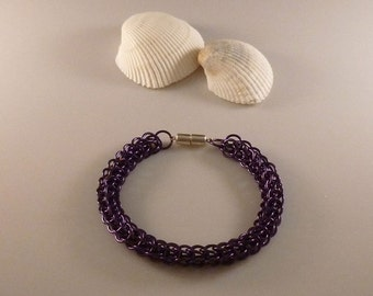 Orchid Full Persian Chainmaille Bracelet with Sterling Silver