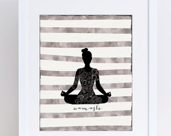 Namaste, Yoga Printable, Serene, Calm Art, Silver Black, Meditation, Mandala, Mindfulness, Mehndi Decor, Gift for Yogi, Yoga Studio Decor