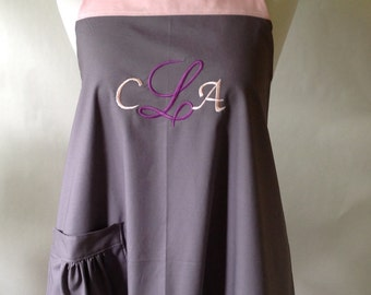 Custom Made Apron, Monogrammed Apron, Personalized, Embroidered Name, Initials, Select Your Color