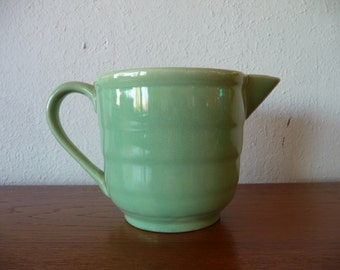 Bauer Pottery Batter Bowl or Pitcher Green Ceramic Pottery Mid Century Modern Pottery California Pottery Made in USA Pottery