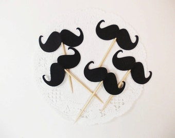 Little Man Black Mustache Party Picks, Cupcake Toppers, Little Man Party Decoration, Baby Shower, Birthday Party, 12 Ct.
