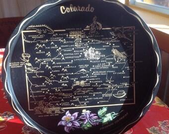 Vintage Colorado metal souvenir tray