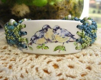 Vintage Blue Bird Beaded Micro-Macrame Bracelet, Adjusts from MED-LG. Watercolor hand-painted image on Polymer Clay.