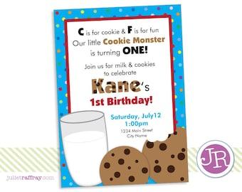 Cookies & Milk Birthday Invitation