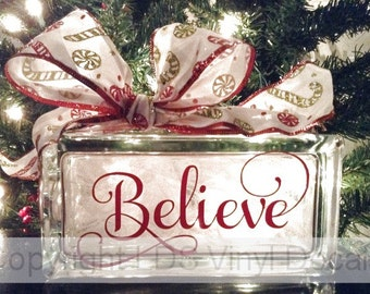 Believe (fancy) - Christmas Vinyl Lettering for Glass Blocks - Holiday Craft Decals - Rectangle ...
