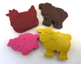 40 Farm Barnyard Animal Crayons Party Favors - Cow - Pig - Sheep - Chicken - Bulk Packaging