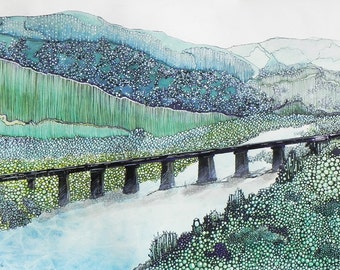 """Contemporary Colorado landscape painting. """"Over the Rio"""".  14"""" x  21"""".  Free U.S. shipping."""