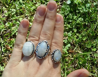 On sale. Moonstone, rings, 3 styles to choose from.