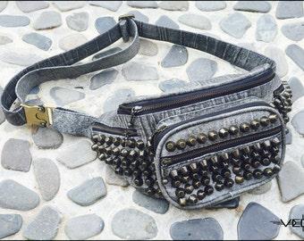 Grey Genuine Leather Studded Fanny Pack-Studded Leather FannyPack-Studded Leather Purse-Leather Belt Bag-Leather Studded Purse-Surf Punk