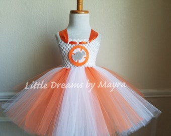 BB8 inspired tutu dress, BB-8 inspired costume, BB8 star wars birthday party inspired costume size nb to 12years