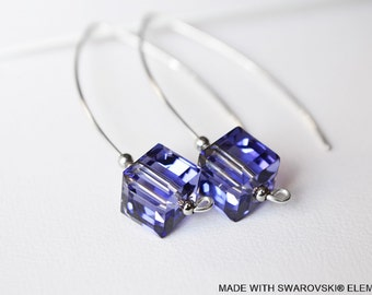 SWAROVSKI Crystal purple cube earrings / Silver 925