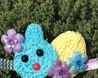 Easter bunny headband - easter hair clip - pink easter headband - baby headband - hair bow - spring headband - pink bunny headband