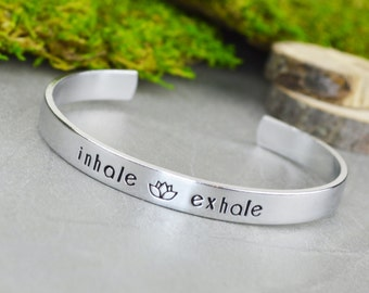 Inhale Exhale Hand Stamped Aluminum Brass or Copper Bracelet • Handstamped Jewelry • Yoga Gift Idea