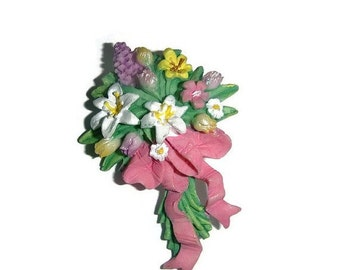 SALE Vintage Spring Floral Bouquet Pin Brooch Easter Jewelry Flower Spray Lily Broach Shabby Chic Jewelry Lilies Tulips Floral Gift under 10