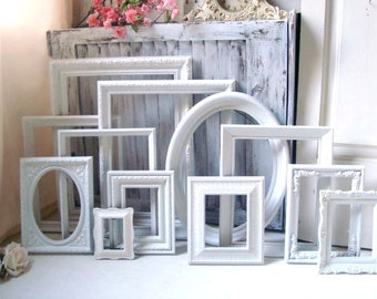 White Vintage Frame Set, Set of 12 Bright White Picture Frames, Frame Gallery, Made to Order Set of 12 Frames