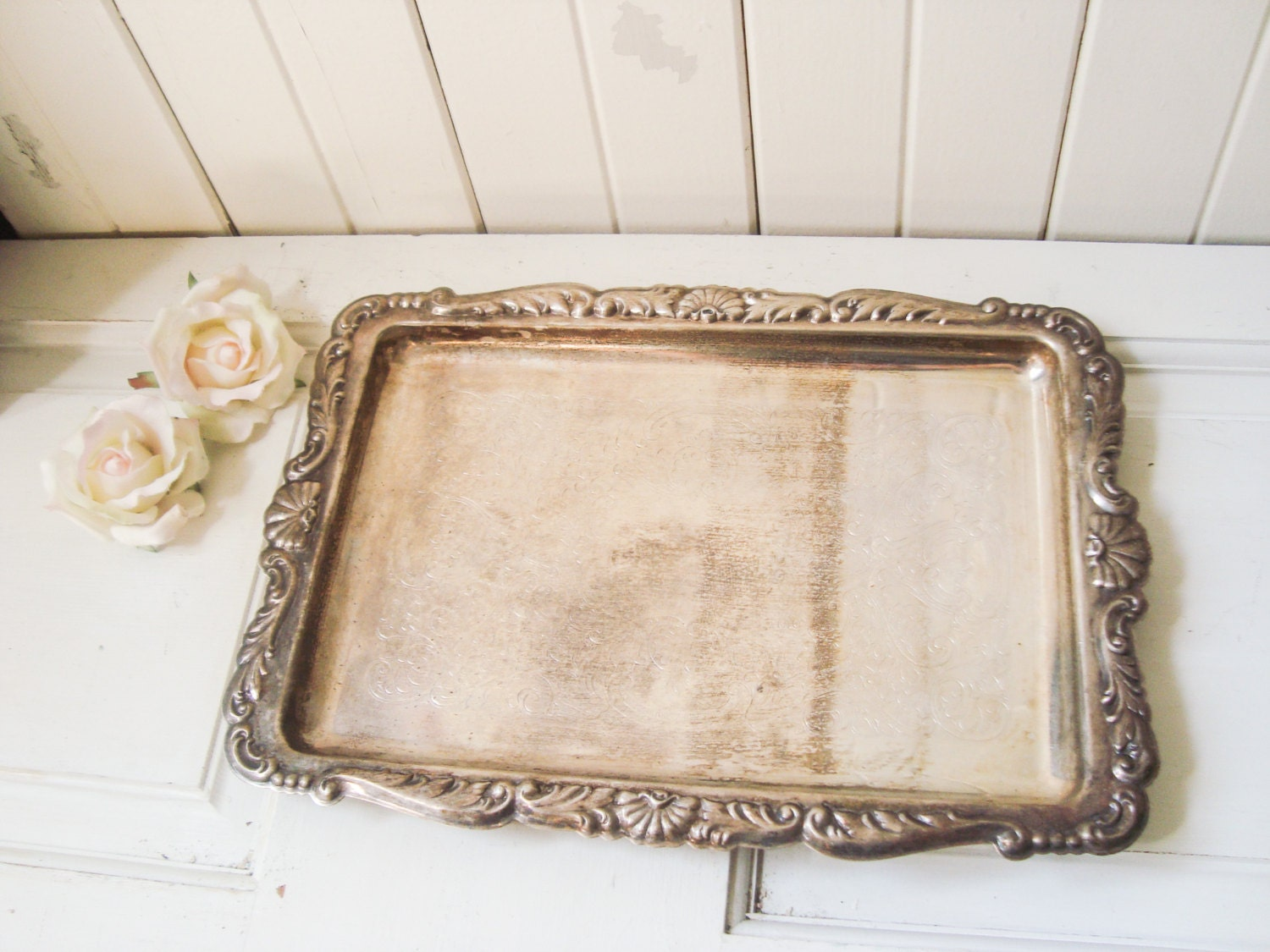 Decorative Metal Tray Reserved Vintage Ornate Silver Plate Rectangle Tray Metal Serving
