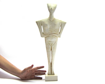 BiG Cycladic ceramic idol of a woman figurine , Greek Museum  copy , Made in Greece