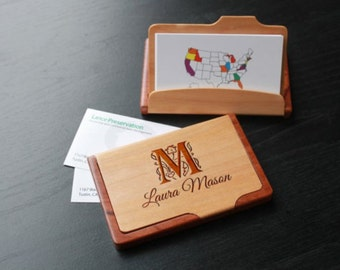Maple/Rosewood Business Card Holder