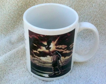 Leanin Tree Mug Powers of the Spirit Art by Craig Tennant 1996 Native American Eagle deserdog destash  b44