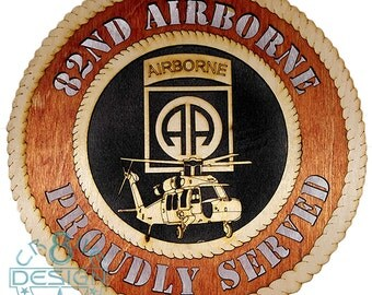 Army 82nd Airborne  wooden 10.5 inch plaque Army,Airborne,black hawk, uh-60