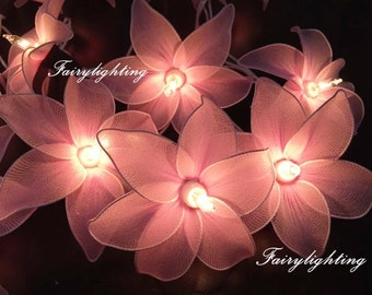 20 Light Pink Cosmos Flowe Fairy String Lights Hanging Wedding Gift Party Patio,Bedroom fairy lights,Home Floral Decor