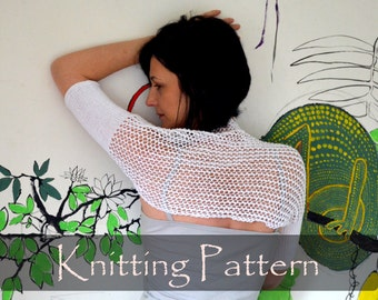KNITTING PATTERN - Lace Knit Shrug Pattern Summer Bolero Mesh Cotton Short Cobweb Shrug Knitting Pattern Lacy Bolero S, M, L, XL Pdf - P0058