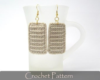 CROCHET PATTERN - Rectangle Earrings Crochet Fabric Pattern Crochet Earrings Jewelry Crochet Tutorial Dangle Earrings PDF - P0019