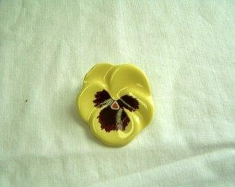 Avon yellow pansy pin