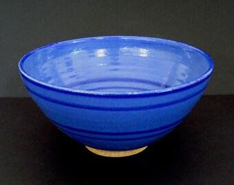 Ceramic bowl, serving bowl, blue bowl, large bowl, handmade, stoneware, high fired