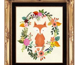 nursery printable, printable wall art,  fox printable, nursery fox print, fox wall decor, nursery decor, woodland printable, 8x10