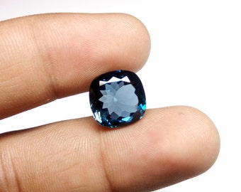 10% OFF Natural London Blue topaz Cushion Cut 10.90 carat at wholesale price / 13x13mm Cushion London blue topaz
