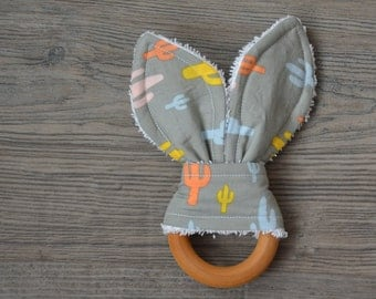 Cactus Wooden Teething Ring - Bunny Ears Teether for Baby
