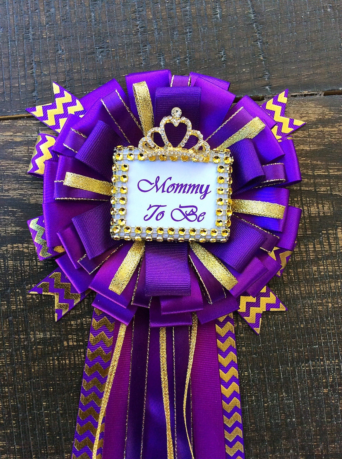 purple and gold little princess baby shower mommy to be pin