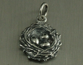 Sterling Silver Bird Nest Charm--Bird Nest Pendant--Bird Lovers--Eggs in Nest Charm--Aviary Theme--Perfect Nest--Nesting