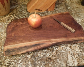 Live Edge Walnut Wood Cutting Board, Rustice Footed Bread Board, or Serving Tray -  Plate