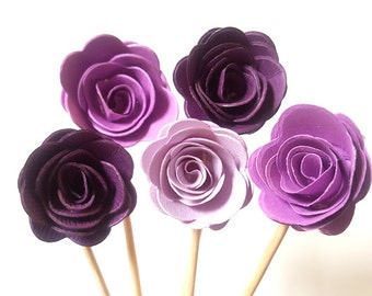 Set of 24Pcs - Purple MIX 3D 'ROSE ' Party Picks, Cupcake Toppers, Toothpicks, Food Picks