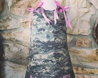 Personalized embroidered United States Army baby dress set digital camo outfit