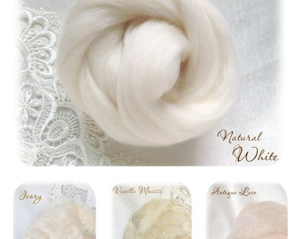 Extrafine Merino WOOL Dyed TOPS  19 Microns color Natural White per 25 gr felting spinning teddy bear making supplies