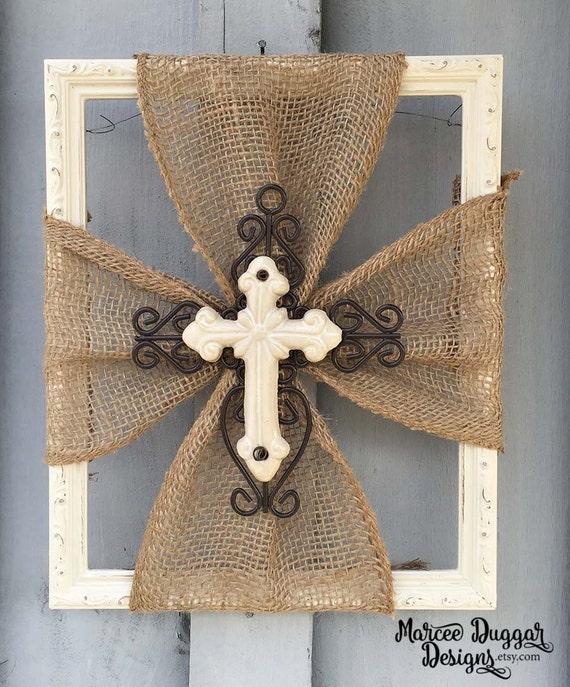 Ceramic Cross | Burlap Trim | Wood Frame | Home Decor | Rustic | Religious | White Cross | turquoise Cross | Blue Cross |  Faith | #0101