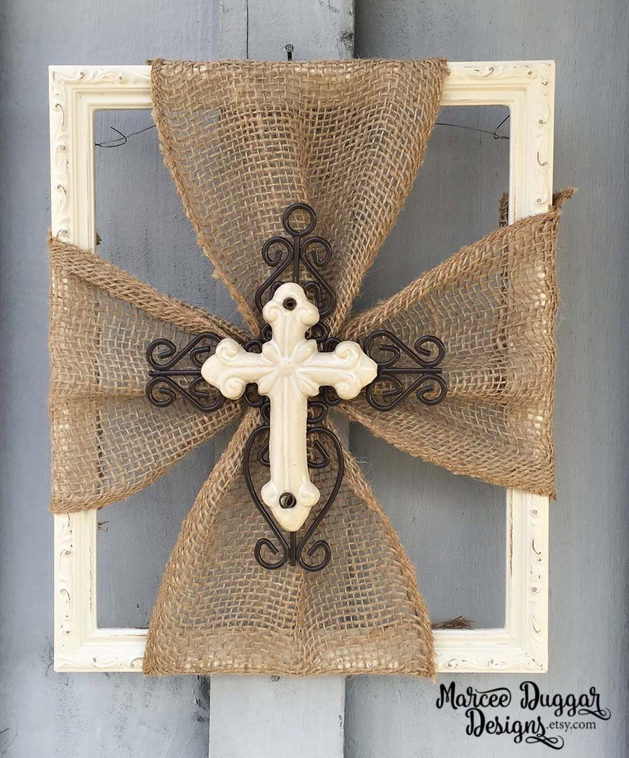 Burlap Home Decor: Ceramic Cross Burlap Trim Wood Frame Home Decor Rustic